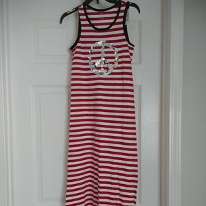 NWOT-Girl's Striped Dress with Sequin Peace Sign